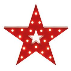 ACHICA | Festive 38cm Battery Operated Lit Star, Red