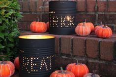 Tin Can Luminaries - 13 Cool & Easy DIY Halloween Decor Ideas