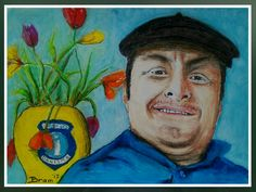 Mustafa tuinman/bewaker (bachivan/guvenlik) - olie pastel op papier.