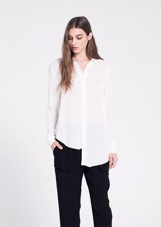 Long Sleeve Shifted Slouchy Blouse. In Our Luxurious Georgette Fabric. Made in the U.S.A.