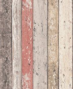 A richly detailed Scandinavian panelled wood effect design – with the look of distressed and faded wood shown in natural wood and red. http://www.wowwallpaperhanging.com.au/wood-wallpaper-sophie-and-dales-scrapwood-wallpaper-from-the-block/