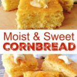 An easy, sweet, moist cornbread recipe that is made from scratch! The best corn bread you'll ever bake! Cornbread Recipe From Scratch, Best Cornbread Recipe, Moist Cornbread, Sweet Cornbread, Cornbread Muffins, Paula Deen Cornbread, Cookbook Recipes, Cooking Recipes, Baked Potato Soup