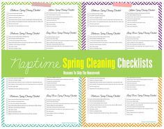 Spring Cleaning Checklists - the naptime version! Reasons To Skip The Housework #cleaning #springcleaning #cleaningprintables