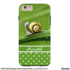 Girly Snail Image Lime Green/Dots iPhone 6 Case