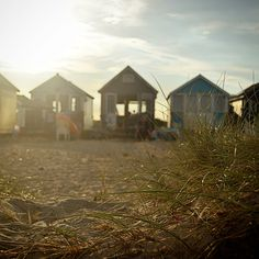 Mudeford Sandspit - 2015 - Looking back at the beach huts into the setting sun