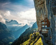 The Äscher cliff restaurant in Switzerland sits around 5 km above sea level and is nestled in the side of a mountain in the Alpstein area. Regular tours hike there from Wasserauen station and reports online suggest it's worth the three hour hike.