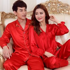 d820cce86f Red Sexy Satin Silk Lovers Sleepwear Women and Men Long Sleeve Pajama Sets  Couple Pajamas Tops and Pants Nightwear
