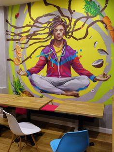 Urban Jedi Hostel on Behance Doodle Art Drawing, Graffiti Drawing, Street Art Graffiti, Mural Wall Art, Mural Painting, Kunst Portfolio, Graffiti Characters, Meditation Art, Pop Art Illustration