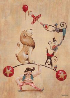 Oopsy Daisy Vintage Circus Strong Man Canvas Wall Art by Sarah Lowe, available at #polkadotpeacock. #peacocklove #oopsydaisyart