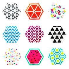 CUSTOM Set of 4 Perler Bead Coasters - Pattern, Decor, Bright, Colour, Hama Bead