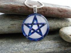 Blue Pentacle Pendant  Wiccan Jewelry by SolasJewelry on Etsy, $9.95