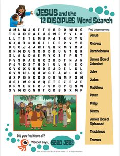 Test out your kids' knowledge of Jesus' disciples with this fun word search from the 5 Minute Family Devotional Plan