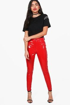#boohoo High Shine Premium Patent Trousers - red DZZ50956 #Indie High Shine Premium Patent Trousers - red