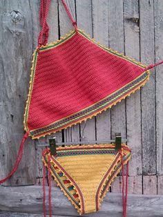 crochet bikini Red Jamaican Crochet Vintage by GoodMoodCreations