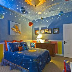 Space room for a boy. Pretty cool except the trim at the bottom. Also, a deeper, darker blue.