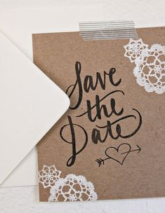 Chipboard Calligraphy Save the Date Kit Rubber Stamps by AllieRuth
