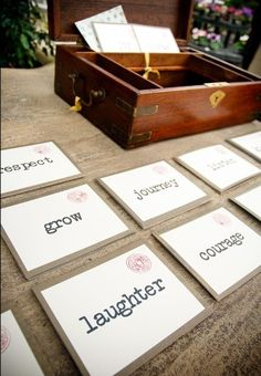 Guest book alternative- have guests use the word to write you a piece of advice