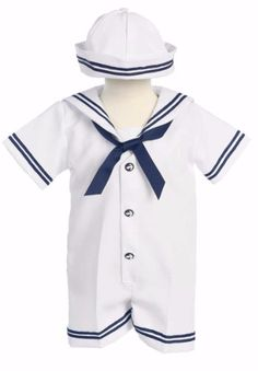 White & Navy Gabardine Sailor Romper with Hat G250
