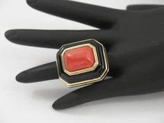 Onyx Coral Gold Ring | From a unique collection of vintage more rings at https://www.1stdibs.com/jewelry/rings/more-rings/