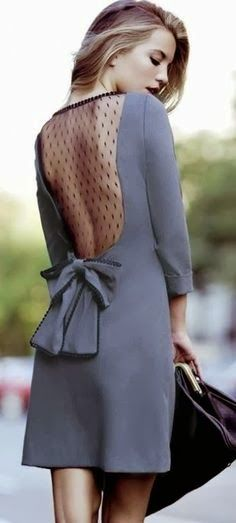 Street style grey dress with lace back, and bow.