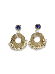 JAIPUR PEARL ROUND DROPS by designer Sobayha Accessories from sobayha.com. Textured antique gold round earrings, with a coloured jewel stud, a pearl middle and clustered pearl edging. Available in Blue, Red, Green, Black, White & Amber. See more at: https://www.sobayha.com/catalogue/jaipur-pearl-round-drops_139/