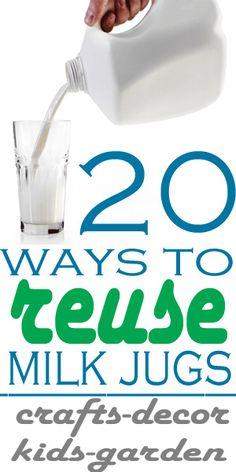 20 ways to reuse milk jugs-craft, decor, kids, garden