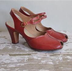 24hr 20 Off Vintage 1950s Heels Red 50s Shoes P Toe Pretties