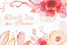 Lace & Flowers. Floral clipart by OctopusArtis on Creative Market