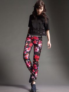 Naughty Dog FW15 half sleeve blouse decorate with sparkling sequins and flower printed pants