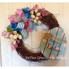 A personal favorite from my Etsy shop https://www.etsy.com/listing/270217633/spring-grapevine-wreath-purple-green