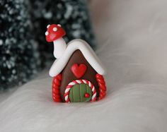 Miniature Gingerbread House - Polymer Clay Gingerbread - Christmas Decor - Miniature Garden - Fairy Garden