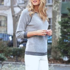 Grey Patchwork Round Neck Long Sleeve Pullover Sweater