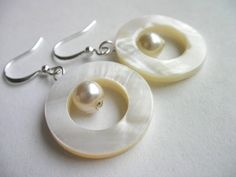 Round Sea Shell Earrings  Green Ivory and Brown by hookandline, $3.99