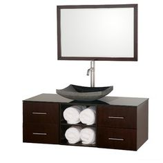 Abba 48 Inch Coffee Vanity From The Wyndham Collection