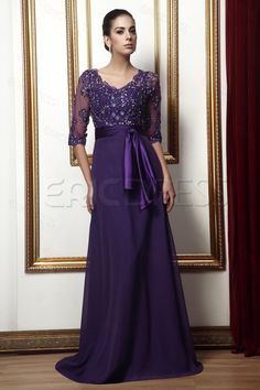 ee9ded9cd1a Delicate Plus Size Mother Of The Bride Dresses With Appliques Crystals  Purple Ribbon A Line V-Neck Sleeves Floor Length Chiffon Gown. Ericdress
