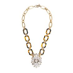 J.Crew - Tortoise and crystal pendant necklace