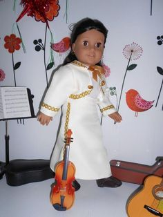 Mariachi charra suit traje pearl white gabardine gold trim for American Girl doll 18 in handmade Ag Doll Clothes, Doll Clothes Patterns, Clothing Patterns, Ivory Pearl, Pearl White, Mariachi Suit, Pearl Color, Line Jackets, Cute Dolls