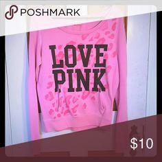 Off the shoulder sweatshirt Pink Leopard print, slight signs of wear. Very warm! PINK Victoria's Secret Sweaters Crew & Scoop Necks