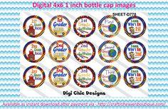 """1"""" bottle caps (4x6) school mix D778"""