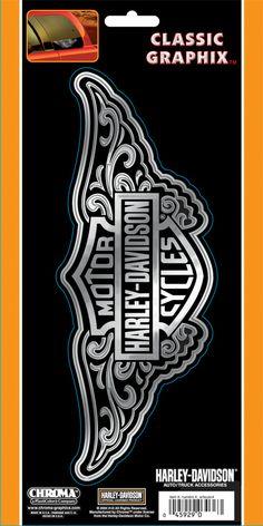 CG3210 - Harley-Davidson® Filigree Chrm/Bk Decal - Barnett Harley-Davidson®