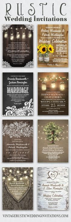 Rustic wedding invitations and sets or collections -- chalkboard, burlap and lace, mason jars and more.