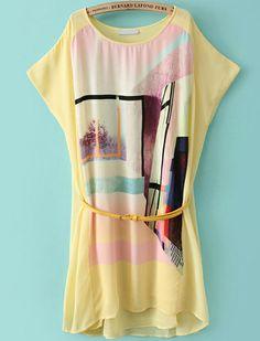 Yellow Short Sleeve Geometric Print Loose Dress - Sheinside.com
