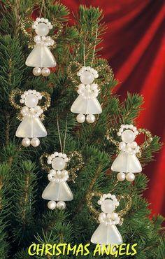 Handmade Ornaments to Make for Christmas Beaded Christmas Decorations, Christmas Angel Ornaments, Unique Christmas Trees, Beaded Ornaments, Handmade Ornaments, Handmade Christmas, Christmas Diy, Nativity Ornaments, Christmas Poinsettia