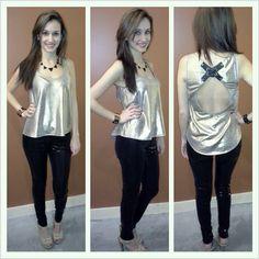 """Black 'OLIVACEOUS' Sequin Pants, """"LADAKH"""" Open Back Gold Top~ Apricot Lane Boutique South Florida"""