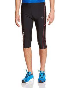 Ultrasport Men's Compression Running Capri - Black/Red, X-Large