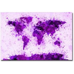 Trademark Art World Map - Purple Paint Splashes Canvas Wall Art by Michael Tompsett, Size: 30 x 47, Multicolor