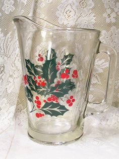 Vintage 1950's Anchor Hocking Holly and berries Christmas 2 qt pitcher by garagesale715 on Etsy https://www.etsy.com/listing/210499332/vintage-1950s-anchor-hocking-holly-and