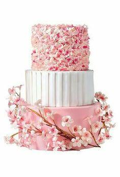 Cherry blossom inspired pink and white 3 tier wedding cake idea #cherryblossomweddingcake