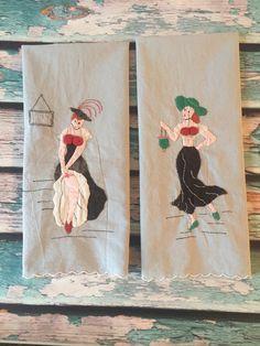 Pair of Vintage Guest Towels  saloon  Garter by GoneCountryJunkin