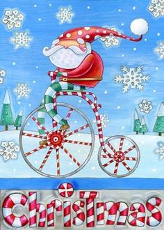 Blue Bicycle Santa by Ronnie Rooney | Ruth Levison Design